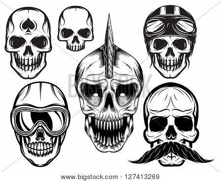 a set of six different skulls for design