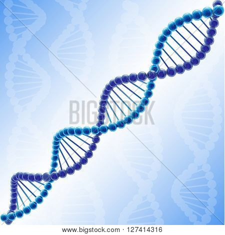 Creative metallic DNA symbol. Blue color image, scheme of DNA molecule. GMO logotype concept. Pattern of genes. Shiny DNA chain. Isolated abstract graphic design template. Medical background. poster