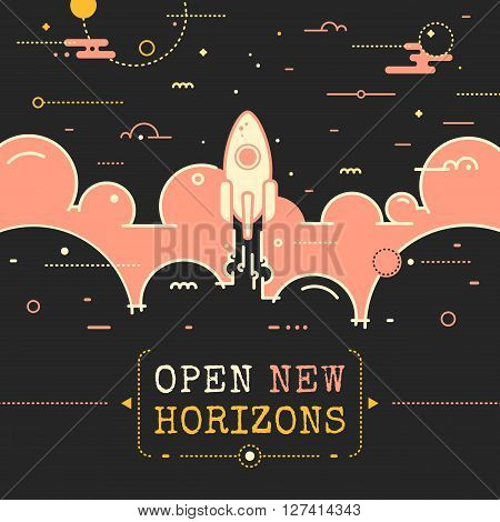 Space vector landscape illustration in outline style - rocket flying above the clouds into space. Rocket launch. Open new horizons poster design with rocket flame and clouds in retro style. Business success concept illustration