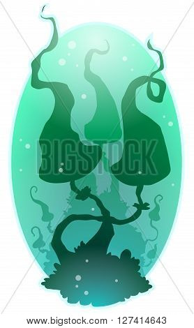 A vector illustration two green shadow musrooms on tht green background