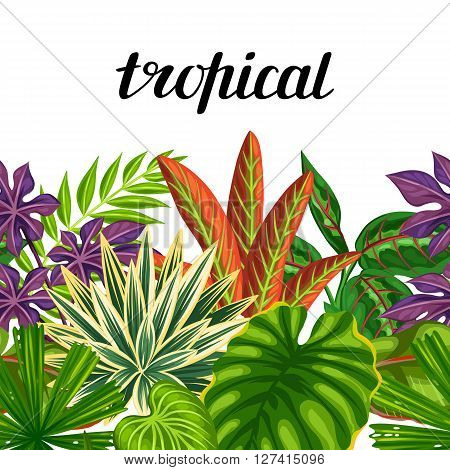 Seamless horizontal border with tropical plants and leaves. Background made without clipping mask. Easy to use for backdrop, textile, wrapping paper.