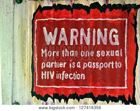 WINDHOEK NAMIBIA - FEB 5 2016: Handmade poster warns about the problem of AIDS. HIV infection most dangerous diseases in Africa