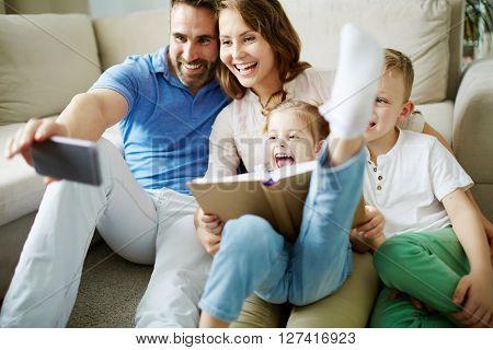 Selfie of family