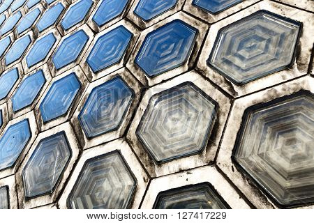 Pattern of grimy hexagonal glass brick for background