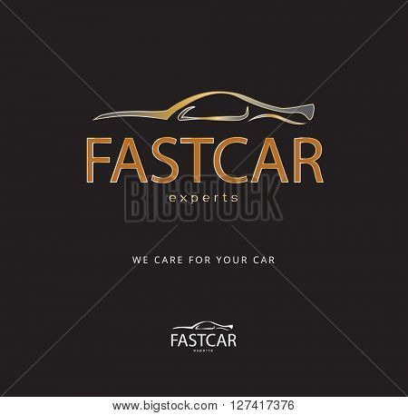 Bronze car icon / logo , dynamic design