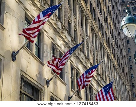 American flags at building in the center of New York City / Manhattan