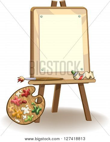 Easel with blank paper for painting paints brush and palette vector illustration isolated on white