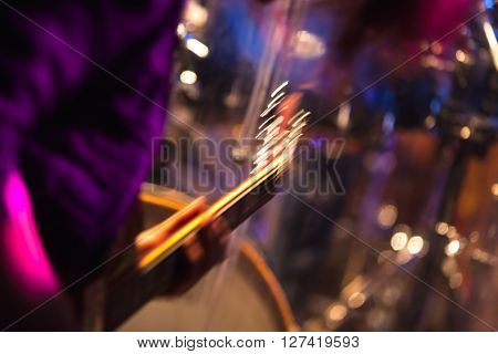 Blurred Rock Music Background, Guitar Player