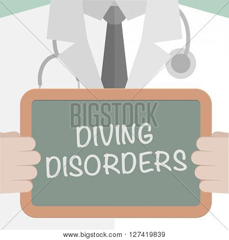 minimalistic illustration of a doctor holding a blackboard with Diving Disorders text, eps10 vector
