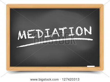 detailed illustration of a blackboard with underlined Mediation text, eps10 vector, gradient mesh included