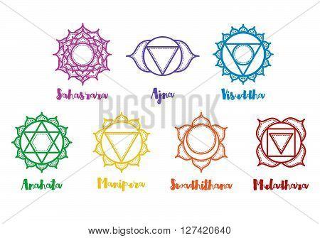 Isolated indian ornamental 7 chakra icons set. Chakras used in Hinduism Buddhism and Ayurveda. Vector Sahasrara Ajna Vissudha Anahata Manipura Svadhisthana Muladhara. Color yoga chakra mandalas