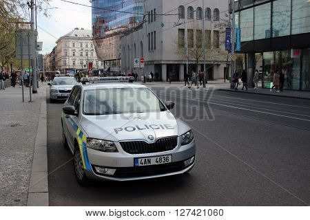 Prague Czech Republic - April 22 2016: Two Skoda Octavia Police Cars Parked on the Street in Prague Nobody in vehicles
