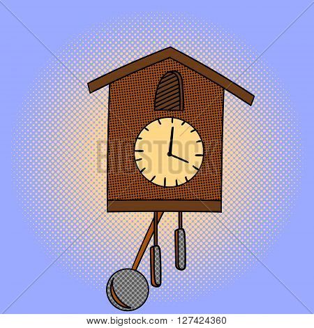 Wall clocks pop art design vector illustration. Clock separate objects. Chimes hand drawn doodle design elements.