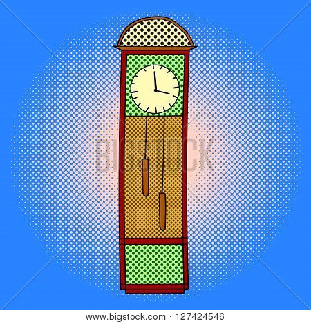 Chimes pop art design vector illustration. Tower clocks separate objects. Timer hand drawn doodle design elements.