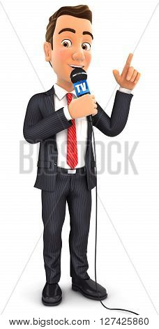 3d businessman reporter with microphone isolated white background