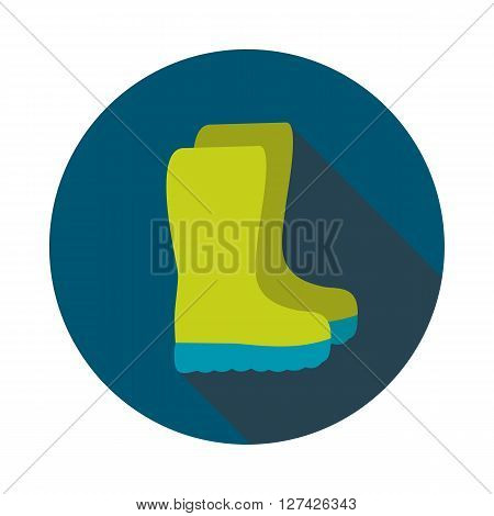 Rubber boots gumboots wellies flat vector icon outline isolated garden eps 10