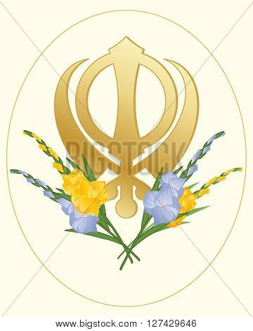 an illustration of a greeting card with a sikh golden symbol of the faith decorated with gladioli flowers on a cream background