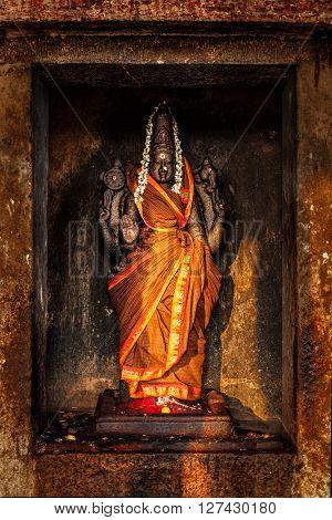 Hindu goddess Durga (Mahisaurmardini) image.  Brihadishwara Temple, Tanjore (Thanjavur), Tamil Nadu, India