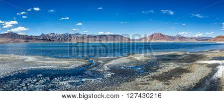 Panorama of Tso Kar - fluctuating moutain salt lake in Himalayas. Rapshu,  Ladakh, Jammu and Kashmir, India