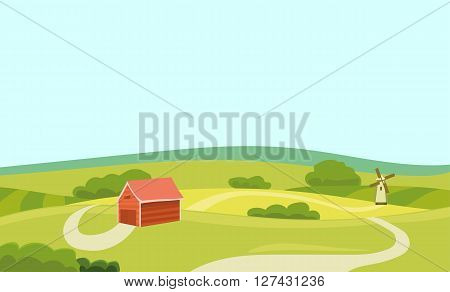 Farm Vector Flat Illustration. Field and House. Agriculture and Fresh Natural Food Concept. Countryside Landscape