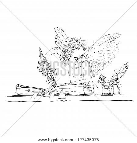Angel bureaucrat pulls out a page from the book. Black and white vector cartoon. Bureaucracy and paperwork