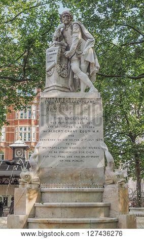 Shakespeare Statue In London Uk