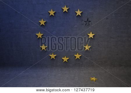 The European flag loses stars concept of disunity 3D Illustration