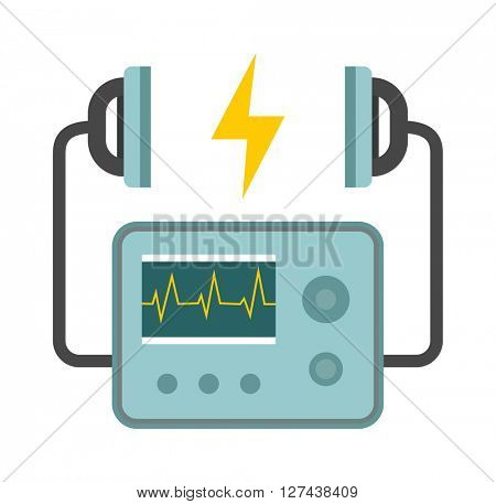 Defibrillator unit isolated medical, heart, cardiac, emergency equipment vector icon.