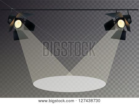 Realistic Transperent Background Spotlights. Light Effect. Scene Studio Show. Isolated Vector Illustration.
