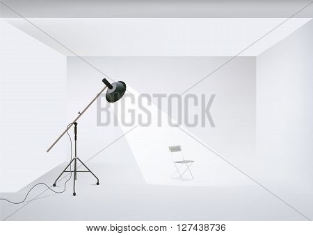 Vector indoor photo studio with lighting equipment and chair