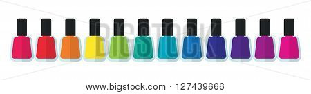 Set bottles of nail polish in various colors. Colorful bottle containers for luxury elegant stylish manicure and pedicure. A lot of colors on white background. Women accessoires. illustration