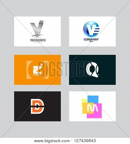 Vector company logo icon element template alphabet letter set