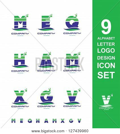 Vector company logo icon element template alphabet letter set stripes