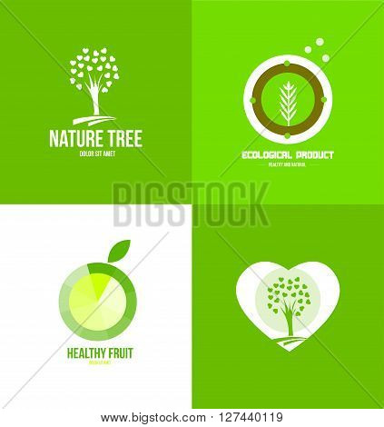 Vector company logo icon element template nature tree ecological fruit