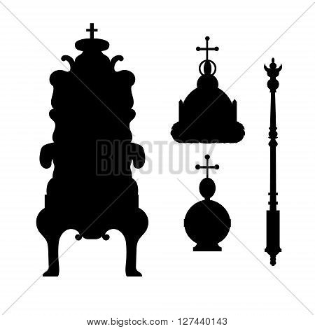A scepter, power, crown and throne. Vector royal set. Black  silhouettes and icons. Vector illustration.