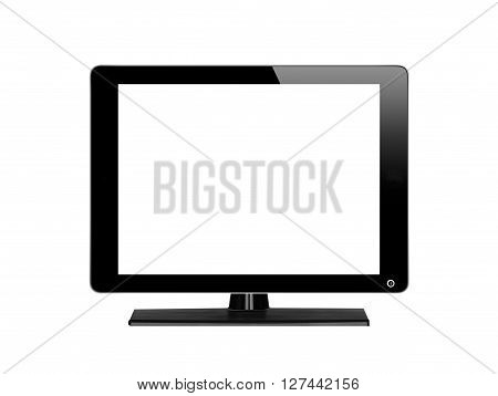 Black computer monitor with empty screen isolated on white background