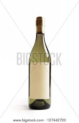 White wine bottle with real paper blank label. Label is at eye level so inserted elemets do not need to be curved (wrapped around) so much. Focus on label. Isolated on white.