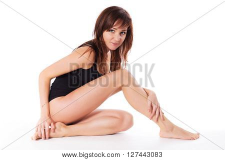 Pretty Young Brunette Woman Body Skin Isolated On White
