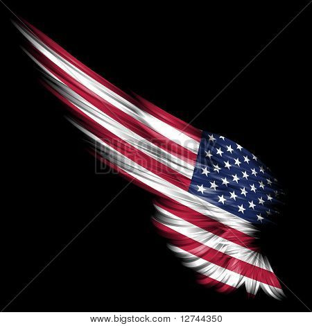 Abstract Wing With American Flag On Black Background