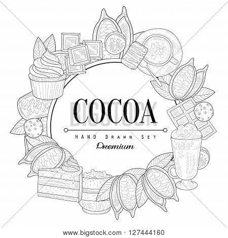 Cocoa Vintage Vector Hand Drawn Design Card
