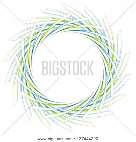 Abstract scratchy green and blue logo on white. Vector tech background