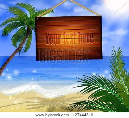 Tropical Beach Bar Wood Board Signpost on beach background