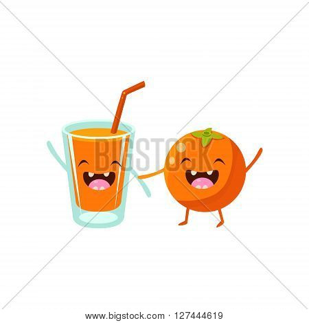 Orange And Orange Juice Cartoon Friends Colorful Funny Flat Vector Isolated Illustration On White Background