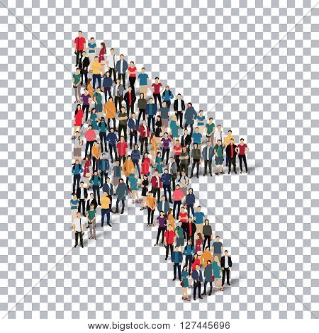 Isometric set of styles, cursor , web infographics concept  illustration of a crowded square, flat 3d. Crowd point group forming a predetermined shape. Creative people. - Vector Illustration. Stock vector.3D illustration.Transparency grid .