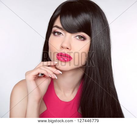 Long Healthy Hair. Makeup. Manicured Nails. Beautiful Model Girl With Black Straight Shiny Hair And