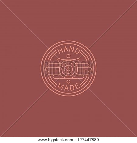 American Diner Style Hand Made Trademark Flat Vector Hand Drawn Decorative Picture For Label