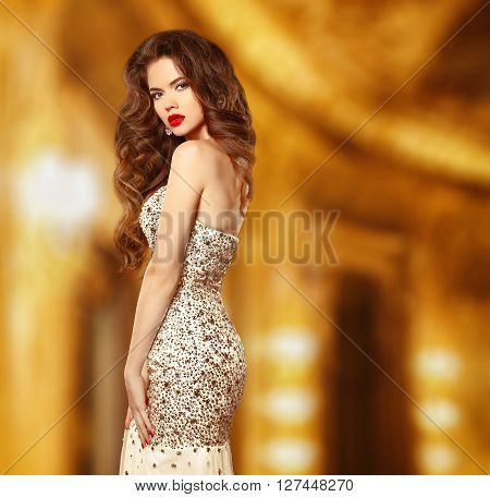 Beauty Fashion Elegant Woman Model In Luxury Dress With Beaded And Sequin. Attractive Sensual Girl P
