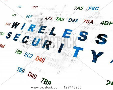 Safety concept: Pixelated blue text Wireless Security on Digital wall background with Hexadecimal Code