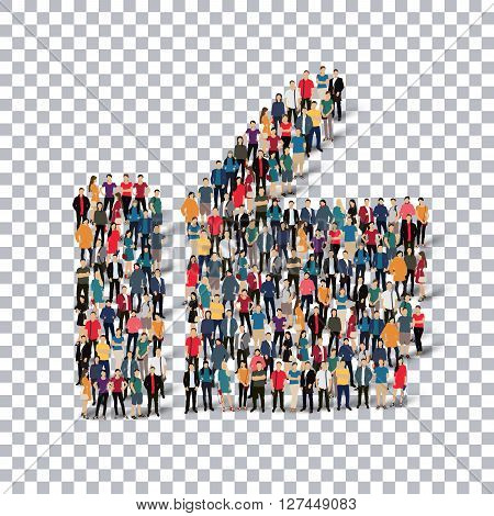 Isometric set of styles, like , web infographics concept  illustration of a crowded square, flat 3d. Crowd point group forming a predetermined shape. Creative people. - Vector Illustration. Stock vector.3D illustration.Transparency grid .