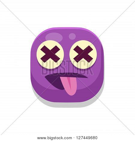 Silly Monster Square Icon Isolated On White Background In Fun Childish Emoji Style Vector Design